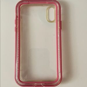Pink LifeProof iPhone X/XS case
